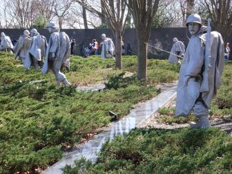 The Korean War Memorial. Note: the mirrored images in the marble wall.