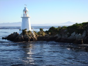 The lighthouse at Hell's Gate, entrance to Macquarie Harbour