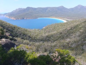 The view down to Wineglass Bay at Freycinet National Park