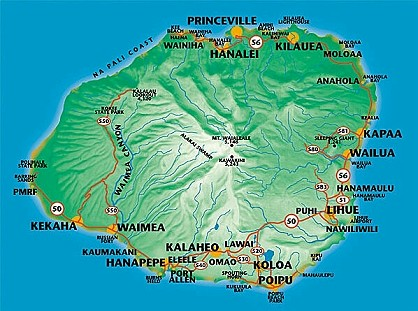 Map of Kauai, Hawaiian Islands