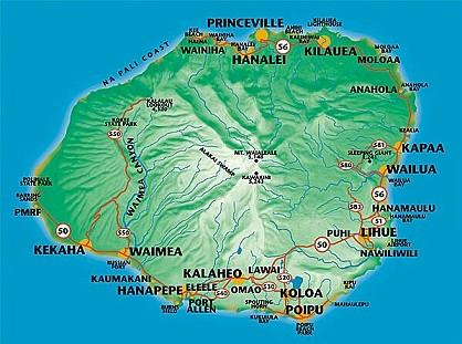 Map of Kauai, Hawaiian Islands