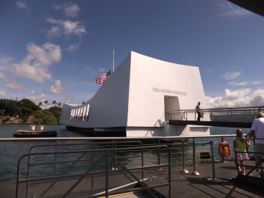 Arriving at the USS Arizona Memorial, Pearl Harbour