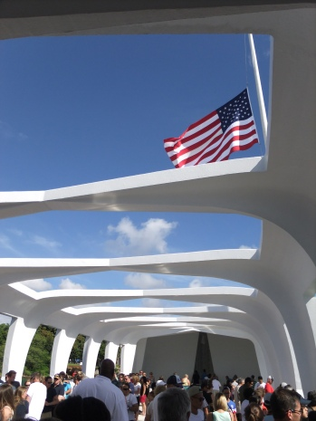 We pause to reflect under the Stars and Stripes, USS Arizona Memorial. Pearl Harbour