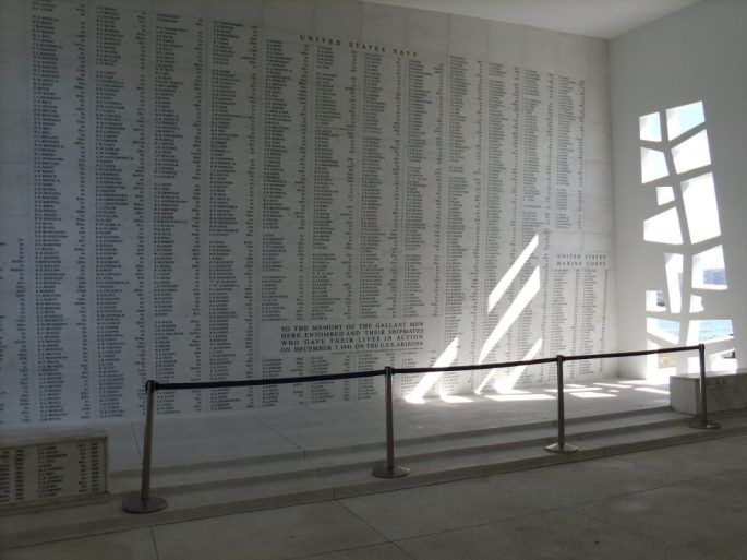 The Wall of Rememberance, USS Arizona, Pearl Harbour, Hawaii, USA
