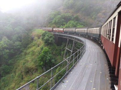 Kuranda Rail, far north Queensland, in the rain.