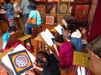 Young women being trained in the fine art of Mandala painting, Bhaktapur. Nepal