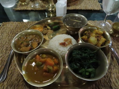 A traditional Nepalese curry dinner.