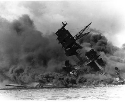 The sinking of the USS Arizona, Pearl Harbour, Hawaii
