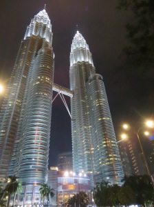 A night time glimpse of the Petronas Towers, KL, Malaysia