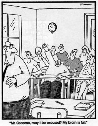 Far side cartoon - brain is full