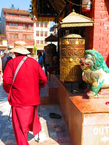 A monk circumambulates! The Great Bouhda Stupa, Kathmandu