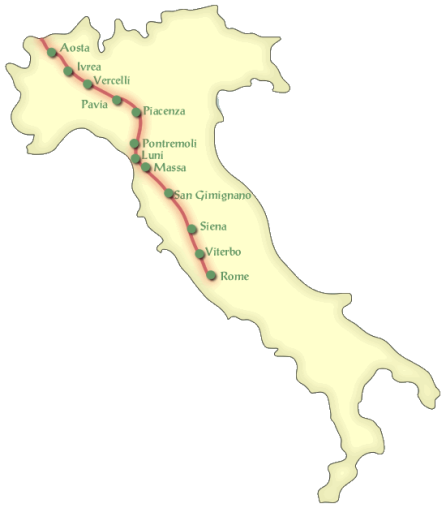 The route to Rome. Photo: wanderingitaly.com
