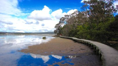 The Boardwalk at Top Lake. Photo: Merimbula Tourism