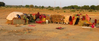 Farmer's camp in a dry landscape
