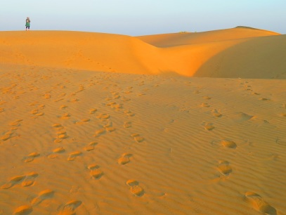 Sand dunes at sunrise.