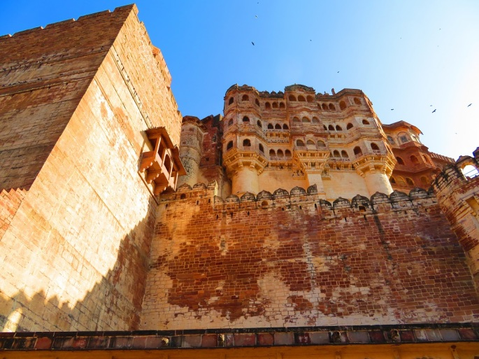 The Towering Walls of the Mehrangarh Fort, Jodhpur, India