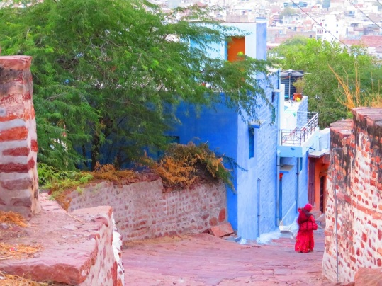 A steep street in the Blue City of Jodhpur