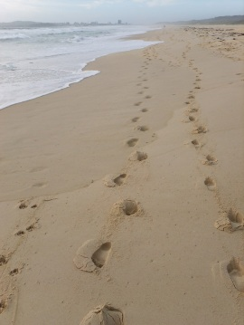Footsteps along Tuncurry beach