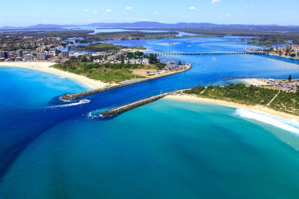 Aerial view of Tuncurry on right and Forster on left.