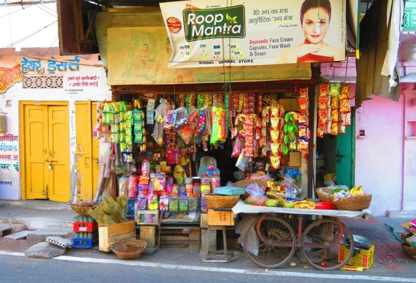 A small shop with brightly coloured packages