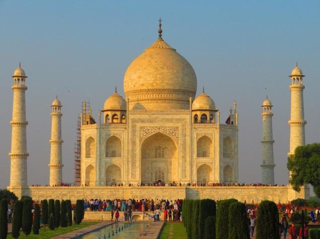 The Taj Mahal with scaffolding.