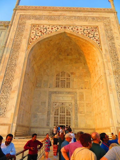 A queue of people waiting to enter the Taj Mahal