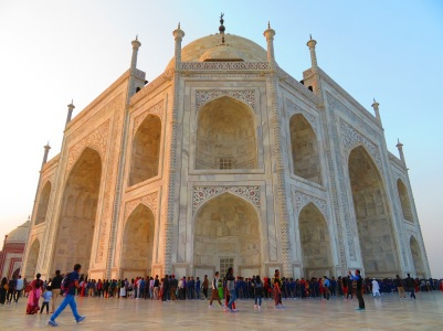 The white and cream marble of the Taj Mahal