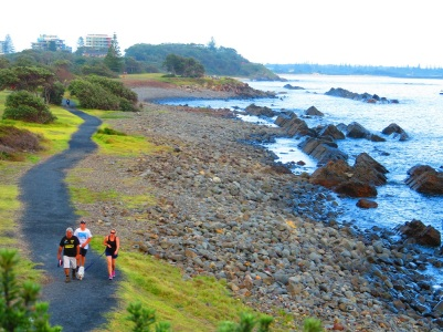 Early morning strollers on the Bicentennial Walk, Forster