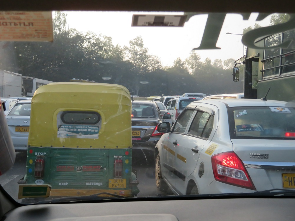 bumper to bumper traffic in Delhi, India