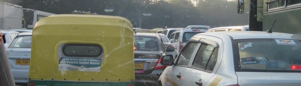 bumper to bumper traffic in Delhi, India