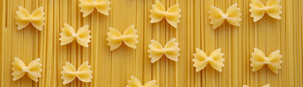Bow tie pasta and spaghetti.