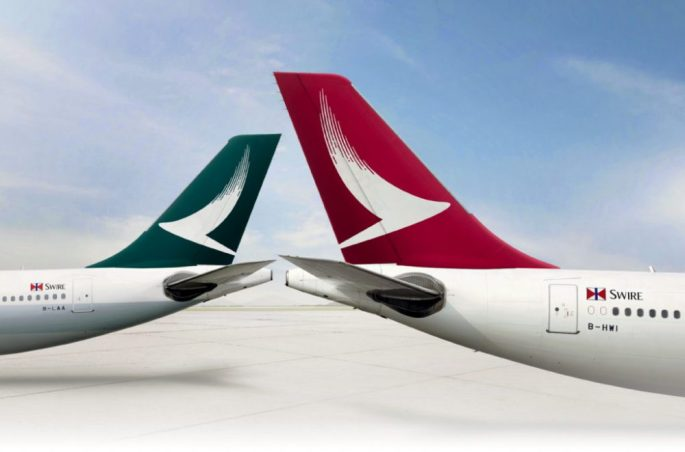 two Cathay Pacific Plane tails