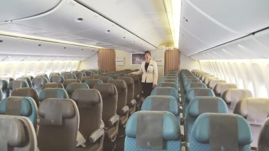 Internal view of Cathay Pacific jet