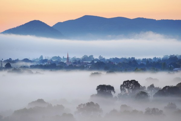 Winter and foggy view of Mudgee