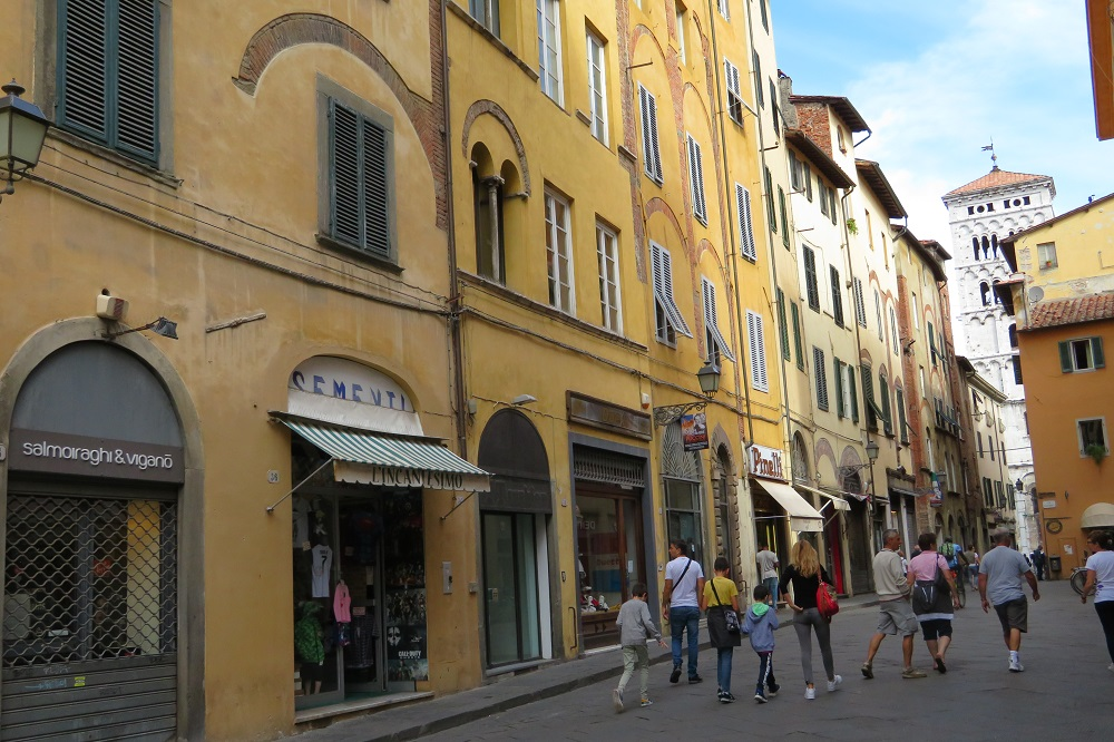 A street scene in Lucca Italy