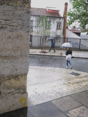 Yellow Arrow on the Camino Portuguese in Lisbon in the rain