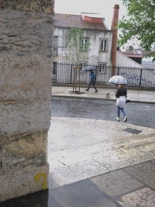 Yellow Arrow on the Camino Portuguese in Lisbon in the rain