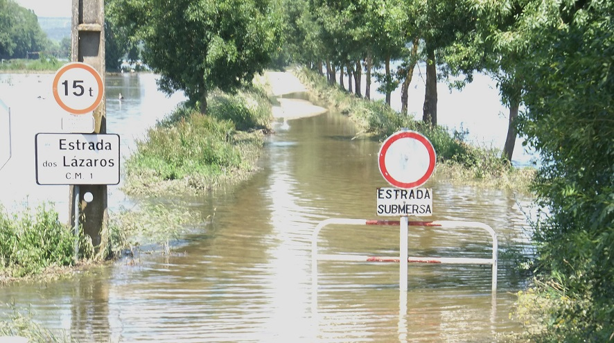 A road in Portugal is flooded and impassable