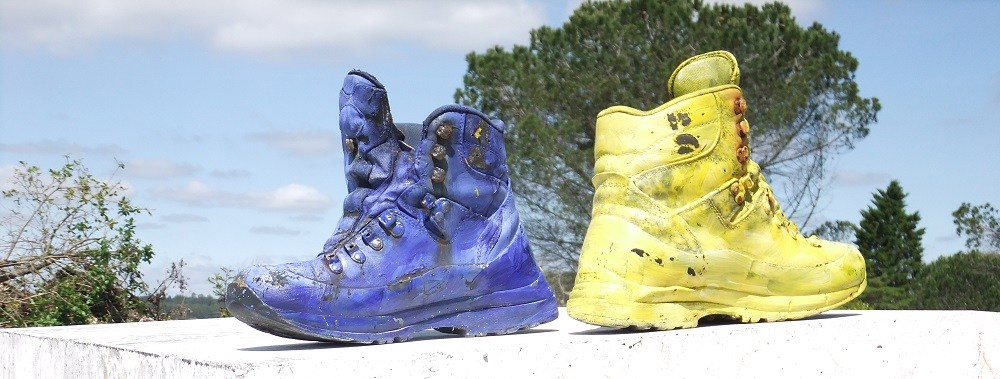 Blue boot and yellow boot from the Camino portuguese