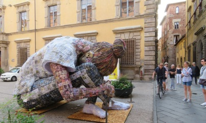 Woman made of paper, Lucca Italy