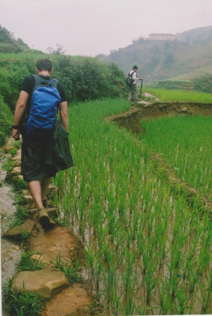 Slippery mud paths amongst rice paddies at Sapa Vietnam