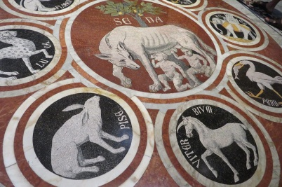 Tessellated tile designs in the Duomo's floor, Siena