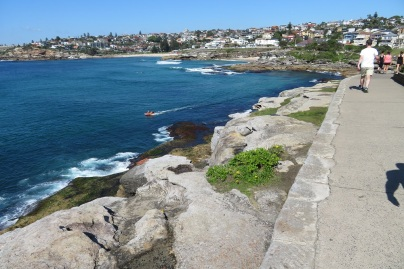 walking southwards on the Coastal Path between Bondi Beach and Coogee Beach