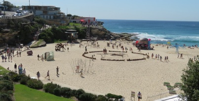 Tamarama Beach and part of the Sculpture by the Sea exhibition.