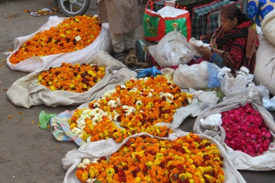 A street seller waits for a buyer with her large bags of yellow and orange marigolds