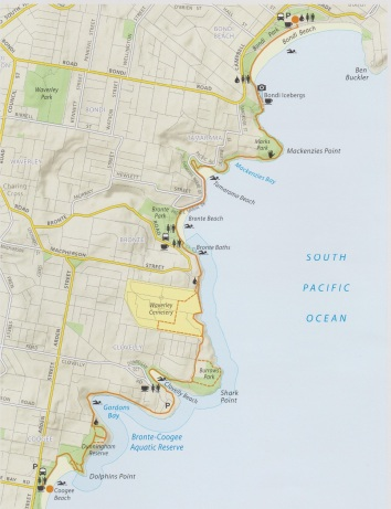 The route of the Coastal Walk from Bondi Beach to Coogee Beach