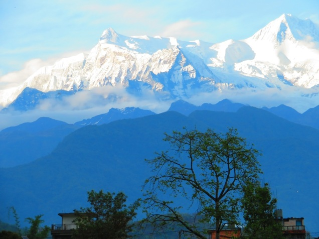 view of the Annapurna Range from Pokhara
