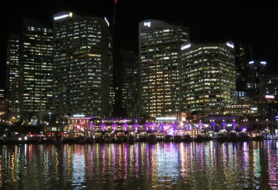 Bright lights at night at Darling Harbour