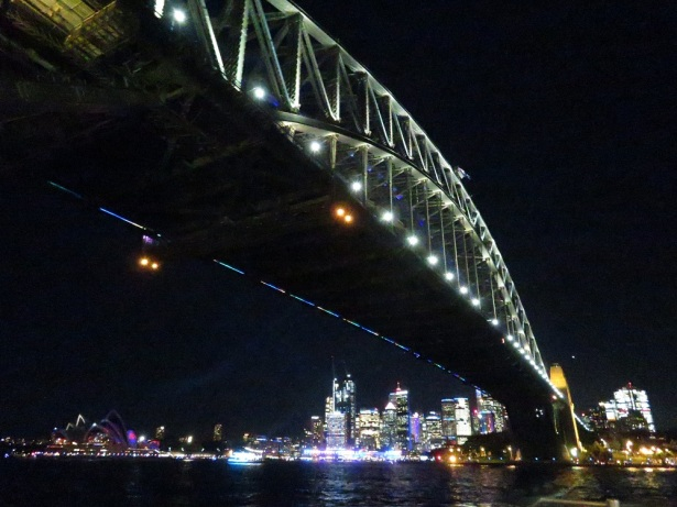 Sydney Harbour Bridge lit up during Vivid