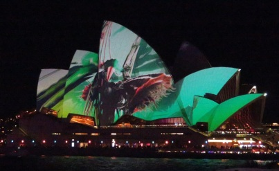 The Sydney Opera House sails lit up at Vivid
